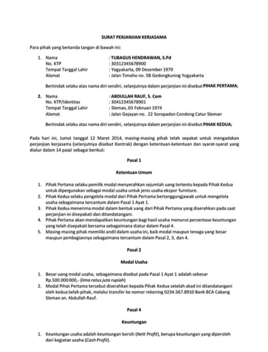 3 Contoh Surat Perjanjian Lengkap Perjanjian Jual Beli Sewa Usaha