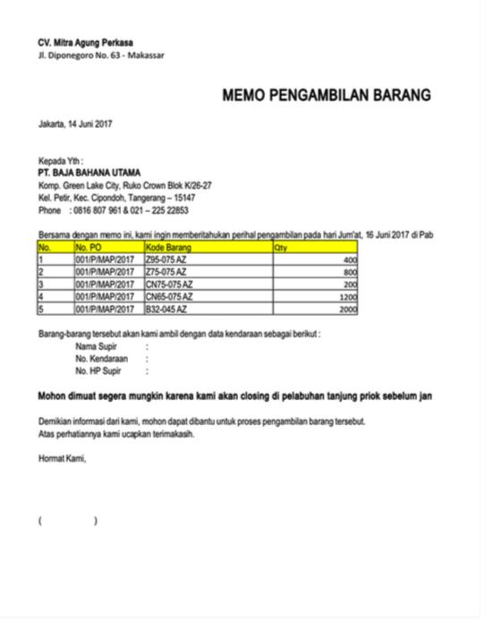 6 Contoh Surat Memo Lengkap Dan Terbaru 2018 Fahmipedia