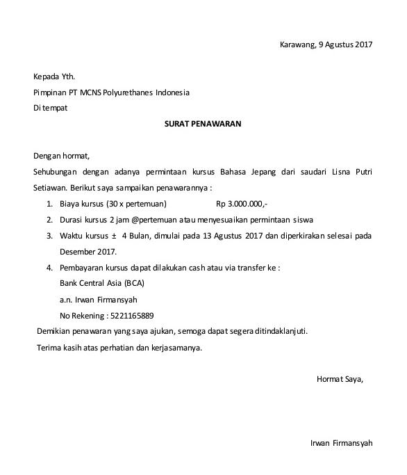 Contoh Surat Penawaran Jasa Cargo Ke Perusahaan Nct